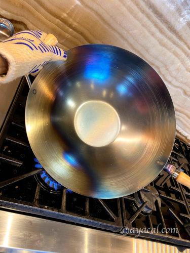 カーボンスチール製中華鍋の焼き入れの仕方